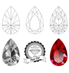 Set of pear cut jewel views vector