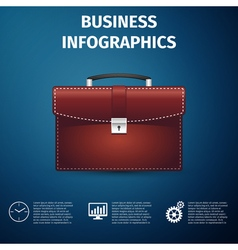 Business infographics briefcase red business icon vector