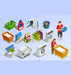Laundry isometric elements set vector