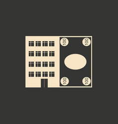 flat in black white house and currency vector image