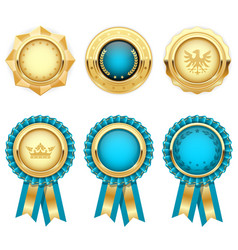 Turquoise award rosettes and gold heraldic medals vector
