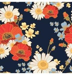 Beautiful wild flowers poppies vector image