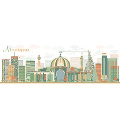 Abstract manama skyline with color buildings vector