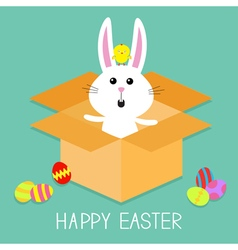 Cute bunny rabbit chicken and eggs paper cardboard vector