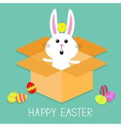 Cute bunny rabbit chicken and eggs paper cardboard vector