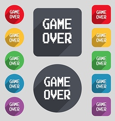Game over concept icon sign a set of 12 colored vector