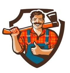 Lumberjack logo woodcutter or forester vector