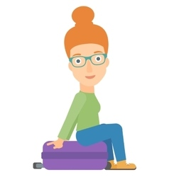 Woman sitting on his suitcase vector