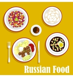 Tasty dinner of russian cuisine flat icon vector