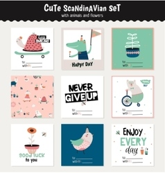 Cute scandinavian set of greeting cards vector