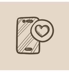 Smartphone with heart sign sketch icon vector
