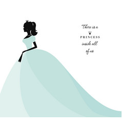 beautiful princess silhouette in pastel blue dress vector image