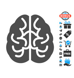 Brain flat icon with free bonus elements vector