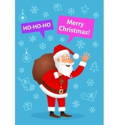 Christmas card with cartoon Santa Claus vector image vector image