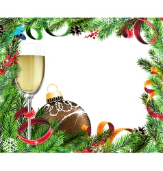 Christmas wreath with glass of champagne and brown vector