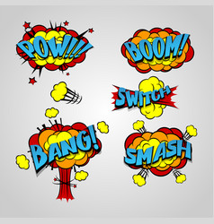 Comic book cartoon explosion set bang boom vector