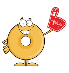 Donut Cartoon with a Foam Finger vector image vector image