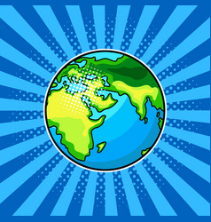 earth globe comic book style vector image vector image