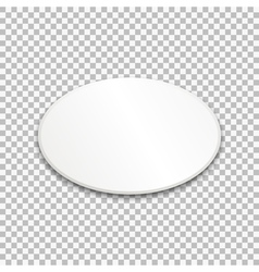 Empty white oval paper plate on transparent vector