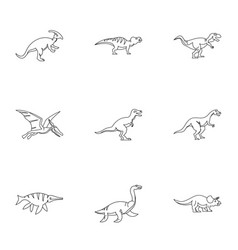 figures dinosaur icons set outline style vector image