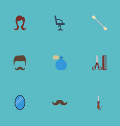 Flat icons hairdresser hairstylist looking-glass vector
