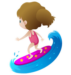 Girl surfing on big wave vector
