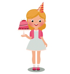 Girl with birthday cake vector