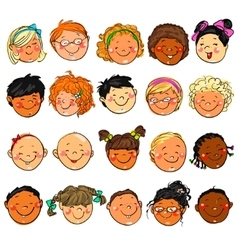 Happy kids faces hand drawn clip-art vector