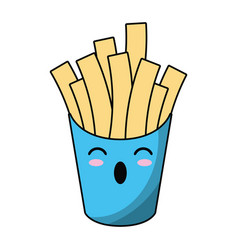 Kawaii french fries fast food vector