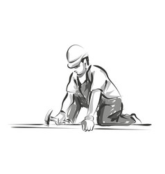 Line sketch worker vector