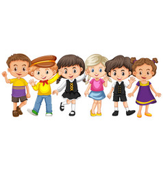 many kids with happy face vector image vector image