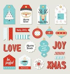 Merry christmas set scrapbook diy printable tags vector image vector image