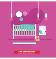 Nursery interior in flat vector image vector image