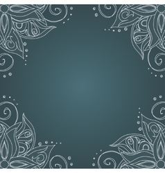 Ornamental frame against dark green background vector image vector image