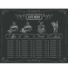 prices for coffee and dessert vector image