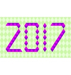 Purple numbers of year 2017 made from triangles vector image vector image