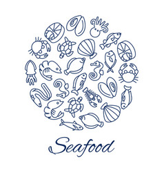 seafood line icons round concept with fishes vector image vector image