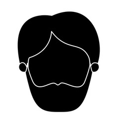 Silhouette black faceless front view man with vector