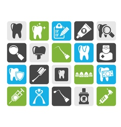 Silhouette dental medicine and tools icons vector