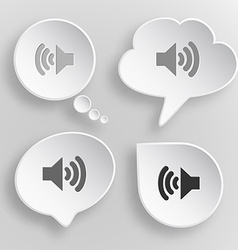 Speaker white flat buttons on gray background vector