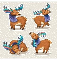 Sticker set of cute cartoon hand drawn elks vector image vector image