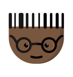 The african cartoon character with glasses vector