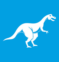 Theropod dinosaur icon white vector