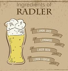 Vintage of card with recipe of radler beer vector
