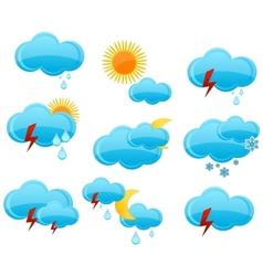 web weather symbols set blue color vector image
