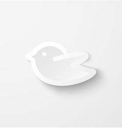 White paper bird social media web icon vector image vector image