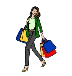 woman with shopping bag vector image vector image