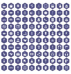 100 beauty and makeup icons hexagon purple vector