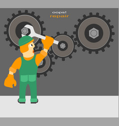 worker repairs the mechanism vector image