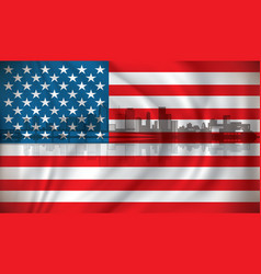 Flag of usa with miami skyline vector